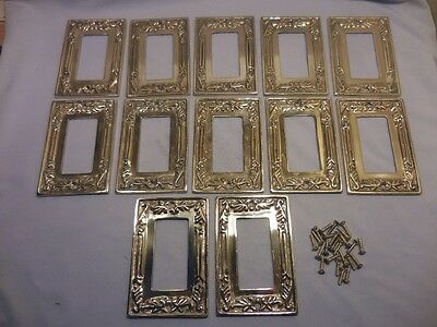 12 Heavy Solid Molded Ornate Brass Single Rocker Switch Plates With Screws
