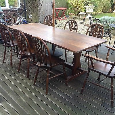 Antique Set Of 7 Foot Solid Oak Refectory Table And 8 Wheelback Windsor Chairs