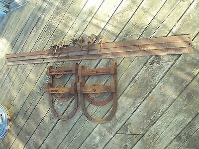 Antique 12X12 Large Horseshoe Hanger/rollers With 18Ft. Of Rail Old Barn Find