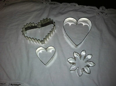Cookie Cutters - three hearts, flower