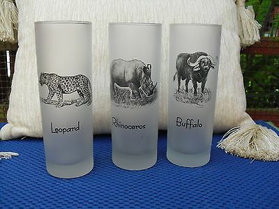 Lovely Frosted Glass Wild Animal Tumblers Set X 3