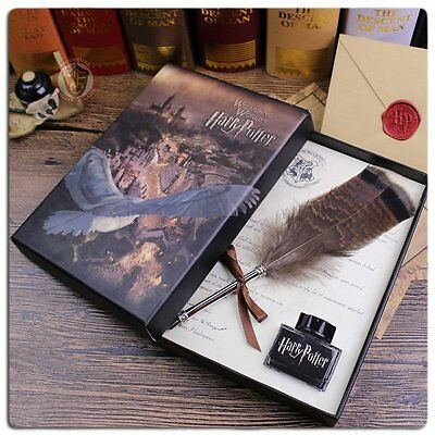 Writing quill set Harry Potter Owl feather steel nib, beautifully gift boxed