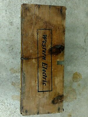 Vintage Wood Western Electric Oak Telephone Shipping Crate Box Advertising