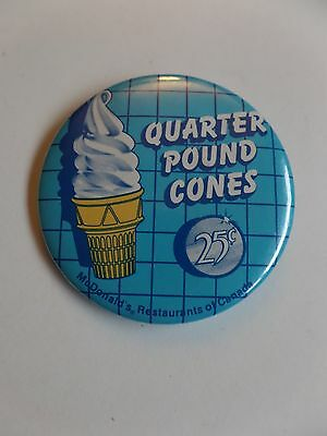 Vintage McDonald's Employee Quarter Pound Cones Button Pin Restaurant Canada