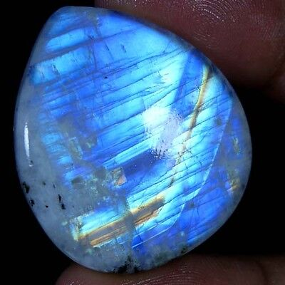 69.00Cts. 100% NATURAL RAINBOW FIRE MOONSTONE PEAR CABOCHON TOP QUALITY GEMSTONE
