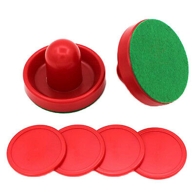 4Pcs Air Hockey Table Goalies with 2 Puck Felt Pusher Mallet Grip Red Color