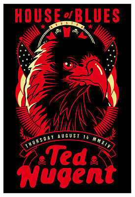Scrojo Ted Nugent House of Blues Houston Texas 2014 Poster Nugent_1408