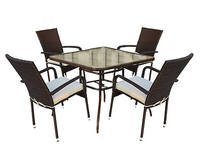 Rattan Garden Dining Table With Tempered Glass Table Top & 4 Aluminium Chairs