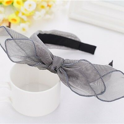 Bohemian Vintage Lace Big Double Bow Wide Headband Hairband Hair Accessories