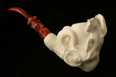 Pegasus in Claw Hand Carved Block Meerschaum Pipe in a fitted CASE 7612