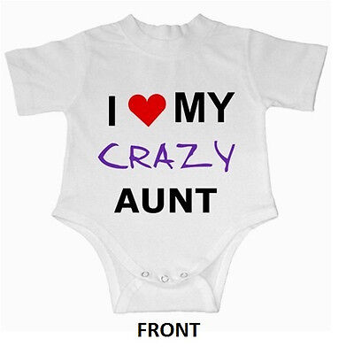 I (HEART) My CRAZY Aunt Baby Onsie Infant Creeper Romper suit  84285375