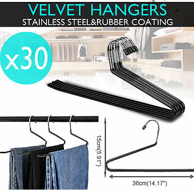 30PCS Metal Clothes Hanger Non Slip Pants Trousers Ties Towels Closet Organizer