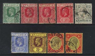 St Lucia 1912-1921 Definitives 9 Used Values Cat £14+
