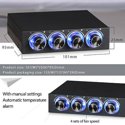 4 Channel Panel Speed Fan Controller CPU HD USB GDT Temp Controlling W/ Blue LED