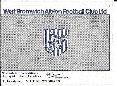 Football Ticket Stub - 1981 - West Bromwich Albion V Tottenham - Division One