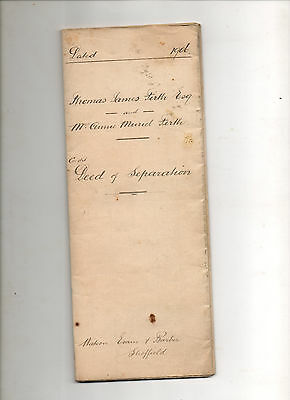 1906. Deed of Separation. T j Firth & A M Firth. Stainton Woodhouse, Rotherham.