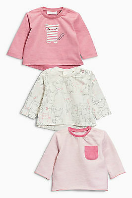 ВNWT NEXT Top Tunic • Cat, All-Over-Print & Pink T-Shirts 3pk •100% Cotton •0-3m