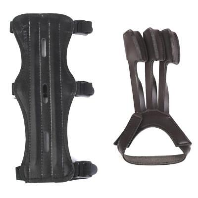 Archery Shooting Leather 3 Straps Arm Guard & 3-fingers Protect Glove