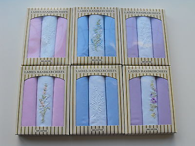 3 Ladies 100% Cotton Embroidery Handkerchiefs Hankies Gift Boxed Presentation