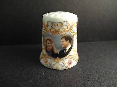 Prince Andrew & Sarah Thimble-Fine Bone China Made in England July 23 1986