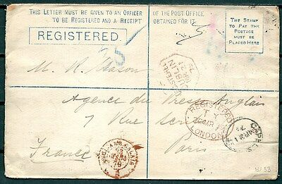 Gb 1897 Registered Postal Cover Multicancelled, Dublin To France -Cag 291116