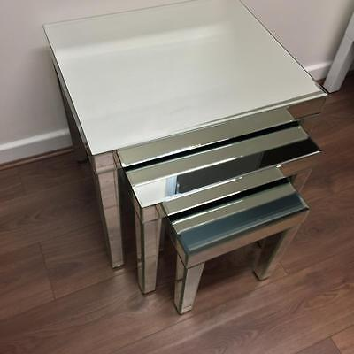 Mirrored Coffee Table Set, Nest of Tables, Glass, Silver, Mirror, Furniture, New