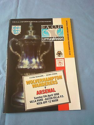 Littlewoods FA Cup semi-final Wolves V Arsenal programme 5th April 1998