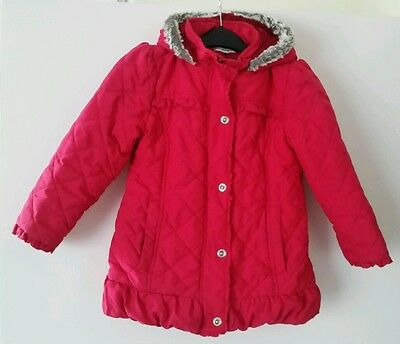 M&S Autograph girls winter quilted coat 5-6 years fur lined hood used