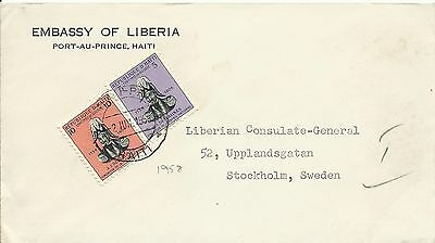 Haiti 1958 Embassy Of Liberia Cover To Sweden Used