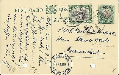 South West Africa 1932 Post Card To Mariental Used