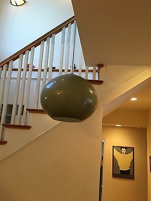 Large spherical glass hanging lamp shade-1950s style