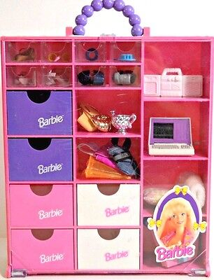 Barbie accessories + case vintage pink wardrobe storage accessory mixed lot