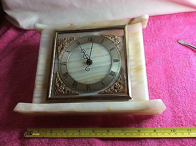 VINTAGE Stunning Solid Marble Floating Balance Smiths 8 Day Mantle Clock In VGC