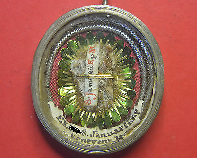 VERY RARE reliquary shrine relic  OF SAINT GENNARO BISHOP OF NAPLES