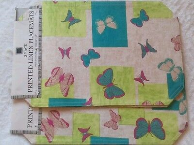 "NWT SET OF 4 KITCHEN TABLE DECOR COLORFUL BUTTERFLIES PLACEMATS 12""x18"""