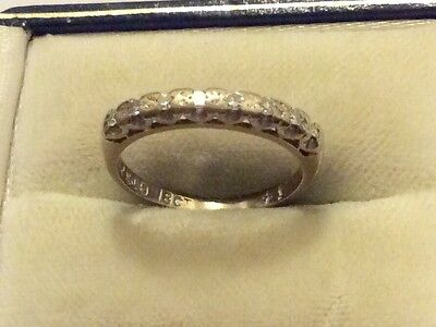 Beautiful Ladies Stamped Antique Solid 18ct Gold Diamond Half Eternity Ring K1/2