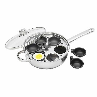 Kitchen Craft NON STICK INDUCTION Non Stick 6 Hole Egg Poacher Poaching Pan Cups