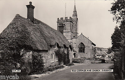 Postcard Evershot nr Beaminster Dorset view of Tess Cottage and Church RP Frith