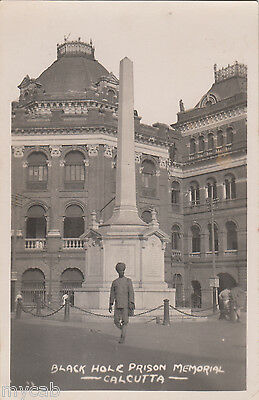 Postcard Calcutta India early view of Black Hole Prison Memorial RP