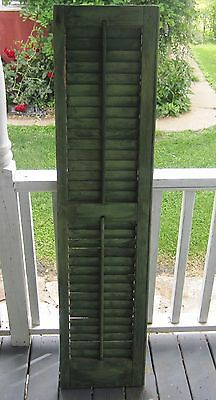 Antique Louvered Wood Window Shutter shabby