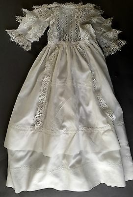 19th C. White Lace trimmed Apron Front Christening dress