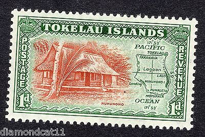 1948 Tokelau 1d Hut and Map SG 2 Mounted Mint R16726