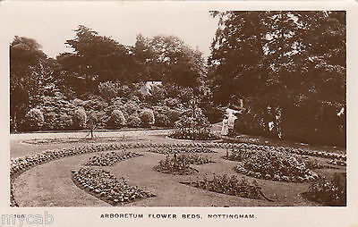 Postcard Nottingham the Arboretum Flower Beds early view RP