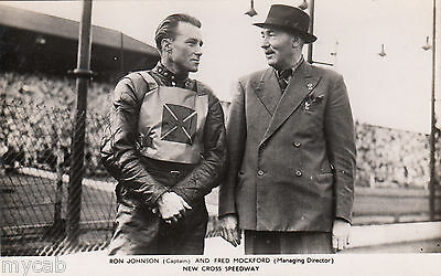 Postcard New Cross Speedway captain Ron Johnson and MD Fred Mockford 1930s RP