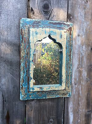 Antique Indian Wooden Temple Mirror Teak Frame Reclaimed Timber Blue Cream