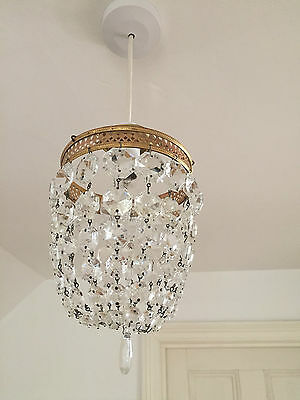 Antique Basket Shaped Ceiling Light Shade Lead Crystals & Brass circa 1900's
