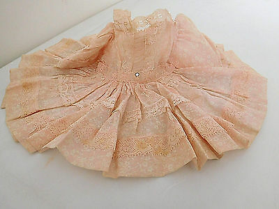 Vintage Pink Party Dress Lace & Organdy for (M) Medium Size Doll