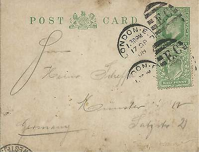 GB 1908 1/2d Green P/S Card Uprated 1/2d Green from London to Germany