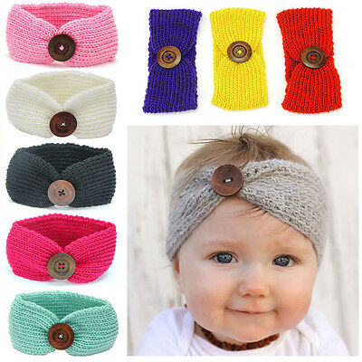Baby Toddler Girl Winter Warm Crochet Knitted Turban Headband Hair Head Band