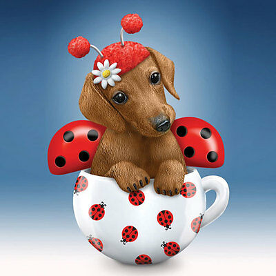 Cute as a Bug Dachshund Dog in a Teacup Figurine - Bradford Exchange